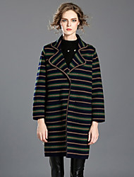 INPLUS LADY Women's Casual/Daily Simple Fall / Winter BlazerStriped Shawl Lapel Long Sleeve Green Rayon / Acrylic