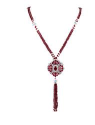 Ожерелье Ожерелья-цепочки Бижутерия Повседневные С логотипом Хрусталь Женский 1шт Подарок Красный