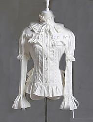 Blouse/Shirt Classic/Traditional Lolita Princess Cosplay Lolita Dress White Solid Long Sleeve Lolita Blouse For Women Cotton