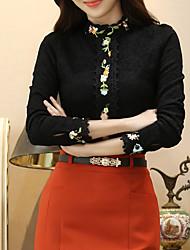 Feminino Camisa Social Casual Simples Outono / Inverno,Sólido Preto Fibra Sintética Colarinho Chinês Manga Longa Grossa