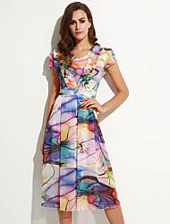 Robe Femme Grandes Tailles Décontracté / Quotidien Vintage,Imprimé Col Arrondi Mi-long Manches Courtes Multi-couleur Eté Micro-élastique