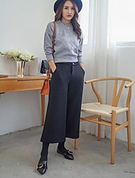 Women's Loose / Wide Leg Chinos Pants,Casual/Daily / Party/Cocktail / Holiday Street chic Solid Mid Rise Button Wool Micro-elasticFall /