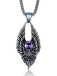 le punk de style pendentif collier de charme 316l rétro sculpture de dragon forme zircon bijoux en acier inoxydable