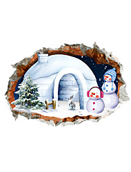 3D Christmas Snowman with A House Hole PVC Material Decorative Skin Wall Stickers