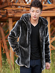 Men's Going out / Holiday Street chic Fur Coat,Solid Hooded Long Sleeve Winter Blue / Black / Brown / Gray Faux Fur Thick