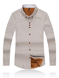 Men's Plus Size / Casual/Daily / Party/Cocktail Simple Fall / Winter ShirtSolid Button Down Collar Long Sleeve 7Colors M-5XL