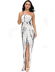 Women's Monochrome Tie Dye Sexy Cutout Maxi Dress