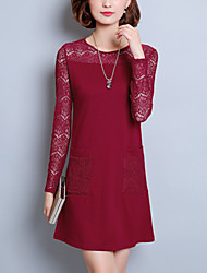 Women's Going out Plus Size Street chic A Line Lace Dress,Solid Lace Round Neck Above Knee Long Sleeve Polyester Pink Red Black FallMid