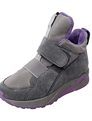 Women's Sneakers Fall Winter Comfort PU Casual Low Heel Magic Tape Black Gray Walking