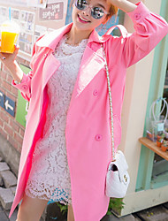Men's Going out / Casual/Daily Simple / Cute Trench Coat,Solid Stand Long Sleeve Fall / Winter Pink Polyester Thick