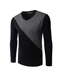 Tee-shirt Hommes,Couleur Pleine Décontracté / Quotidien simple Printemps / Automne Manches Longues Col en V Noir / Gris Coton