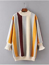Damen Standard Pullover-Ausgehen Lässig/Alltäglich Einfach Gestreift Beige Grün Rundhalsausschnitt Langarm Polyester Winter Dick