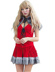 Fest/Feiertage Halloween Kostüme Rot einfarbig Top / Rock / Umhang Weihnachten Frau Samt