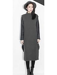Damen Standard Pullover-Ausgehen Lässig/Alltäglich Retro Street Schick Anspruchsvoll Solide Grau Rundhalsausschnitt Langarm Kunst-Pelz