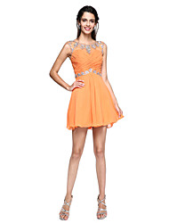 TS Couture Cocktail Party Dress - Mini Me A-line Jewel Short / Mini Chiffon with Beading Criss Cross