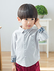 Boy Casual/Daily Solid Shirt,Cotton Fall Long Sleeve Short