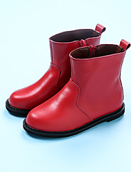 Girl's Boots Winter Others Leather Casual Flat Heel Black Red