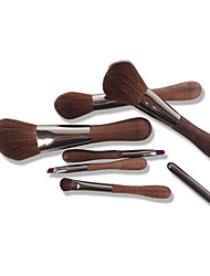 6 Makeup Brushes Set Horse Full Coverage Wood Face