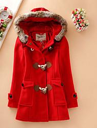 Damen Solide Retro Lässig/Alltäglich Mantel,Winter V-Ausschnitt Langarm Blau / Rot / Beige Dick Wolle