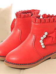 Mädchen-Stiefel-Lässig-PU-Plateau-Komfort-Schwarz Rot