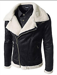 Men's Casual/Daily / Work Simple Leather Jackets,Solid Shirt Collar Long Sleeve All Seasons Black / Brown Cowhide Medium