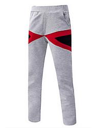 Men's Plus Size Loose Sweatpants Pants,Casual/Daily Active Plaid Mid Rise Elasticity Cotton Micro-elastic Fall