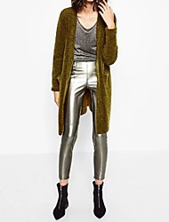 Women's Skinny Shorts Pants,Casual/Daily / Party/Cocktail Simple / Street chic Solid Mid Rise Zipper PU Inelastic Fall / Winter