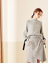 Mujer Regular Pullover Casual/Diario Simple,Un Color Gris Escote Chino Manga Larga Lana Primavera Otoño Medio Microelástico
