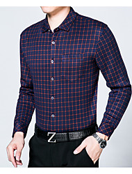 Men's Casual / Formal / Work Spots & Checks / Flocking / Tops Winter Shirt,Polka Dot Shirt Collar Long Sleeve Blue / Red Cotton Thick