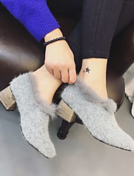 Women's Heels Comfort Fur Casual Black Gray Khaki