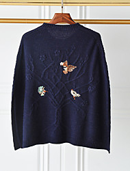 I LOVE KNITTING Women's Casual/Daily Simple Regular PulloverEmbroidered Blue Round Neck Long Sleeve Wool / Cotton Fall / Winter Medium Stretchy