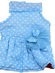 Cachorro Vestidos Roupas para Cães Casual Pontos Azul