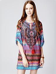 Women's Plus Size Vintage Shift Dress,Geometric V Neck Above Knee ½ Length Sleeve Purple Polyester Summer Low Rise Inelastic Thin