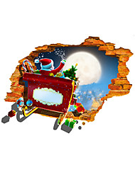3D Santa Claus Gift Hole PVC Material Decorative Skin Wall Stickers