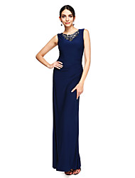 TS Couture Prom Formal Evening Dress - Elegant Sheath / Column Jewel Floor-length Jersey with Beading Pleats