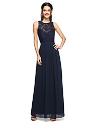 A-Line Jewel Neck Floor Length Chiffon Lace Bridesmaid Dress with Sash / Ribbon Sequins by LAN TING BRIDE®