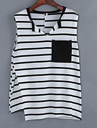 Women's Casual/Daily Sexy Summer Blouse,Striped V Neck Sleeveless White Cotton Opaque