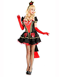 Queen Fairytale Festival/Holiday Halloween Costumes Red White Black Solid Dress Shawl Gloves HeadwearHalloween Christmas Carnival