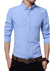 Men's Plus Size / Formal / Work Simple / Street chic Fall / Winter Shirt,Solid Square Neck Long SleeveBlue / Pink / White / Black /