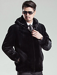 Men's Casual/Daily Simple Fur Coat,Solid Hooded Long Sleeve Winter Black Faux Fur Thick