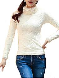 Women's  Winter High Neck Lace Fleece Long Sleeve Pullover