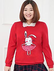 Sweatshirt Femme Grandes Tailles Décontracté / Quotidien simple Broderie Col Arrondi Micro-élastique Nylon Spandex Manches LonguesAutomne