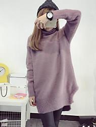 Damen Standard Pullover-Ausgehen Lässig/Alltäglich Niedlich Solide Grün Gelb Lila Rundhalsausschnitt Langarm Polyester Winter Mittel