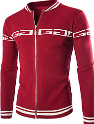 Men's Casual/Daily Simple Regular Cardigan,Color Block Blue / Red / Black Stand Long Sleeve Wool Fall / Winter Medium Micro-elastic