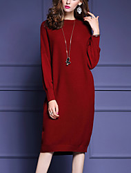 Women's Going out / Casual/Daily Cute / Street chic Sweater Dress,Solid Round Neck Knee-length Long Sleeve Red / Brown Cashmere / Wool