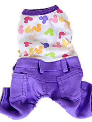 Dog Clothes/Jumpsuit Yellow / Green / Purple Dog Clothes Winter / Spring/Fall Animal Keep Warm