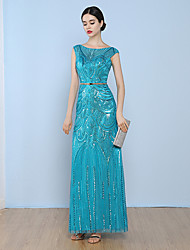 Formal Evening Dress A-line Bateau Floor-length Tulle with Sequins