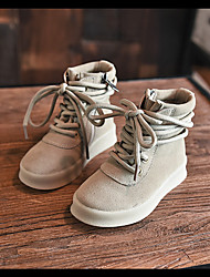 Boy's Boots Fall Winter Comfort Suede Casual Flat Heel Lace-up Black Khaki Others