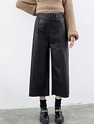 Feminino Reto / Perna larga Chinos Calças-Cor Única Casual Simples Cintura Média Elasticidade PU Inelástico Outono / Inverno
