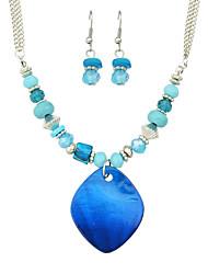 Fashion Blue Imitation Turquoise Beads Necklace Earrings Set